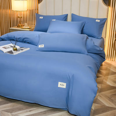 2021新款轻奢纯色贴布绣磨毛双拼四件套 1.0m床单款三件套 宾利蓝