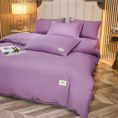 2021新款轻奢纯色贴布绣磨毛双拼四件套 1.0m床单款三件套 紫罗兰