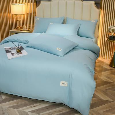 2021新款轻奢纯色贴布绣磨毛双拼四件套 1.0m床单款三件套 星空蓝