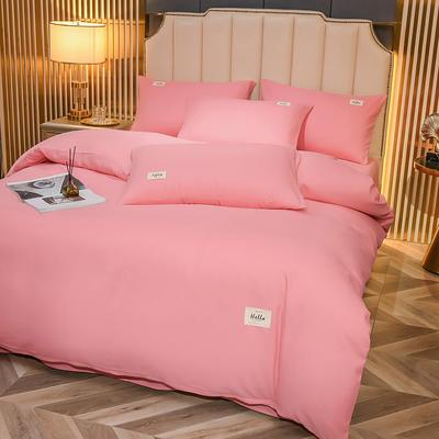2021新款轻奢纯色贴布绣磨毛双拼四件套 1.0m床单款三件套 胭脂粉