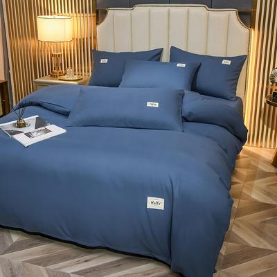 2021新款轻奢纯色贴布绣磨毛双拼四件套 1.0m床单款三件套 宝石蓝