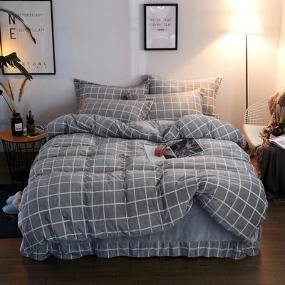 2019新款-精品水晶绒四件套 1.5m(5英尺)床 简约风格-灰