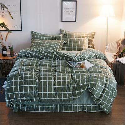 2019新款-精品水晶绒四件套 1.2m床(三件套) 简约风格-绿
