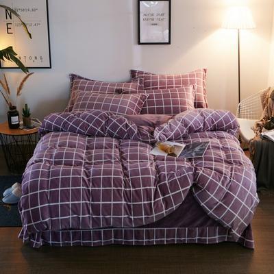 2019新款-精品水晶绒四件套 1.5m(5英尺)床 简约风格-紫