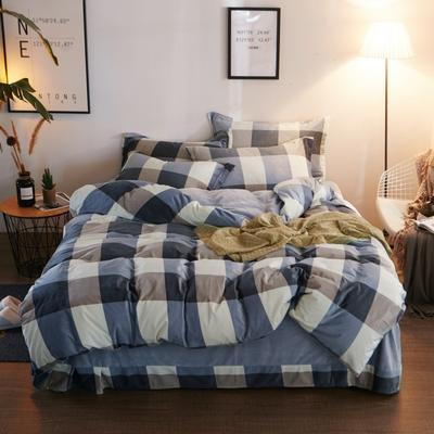 2019新款-精品水晶绒四件套 1.5m(5英尺)床 绅士品格-蓝