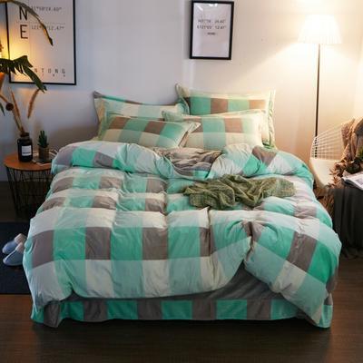 2019新款-精品水晶绒四件套 1.5m(5英尺)床 绅士品格-绿