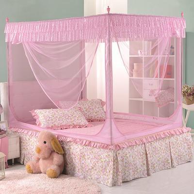 2018新款坐床拉链式蚊帐-纯色小美 1.5m(5英尺)床 粉色