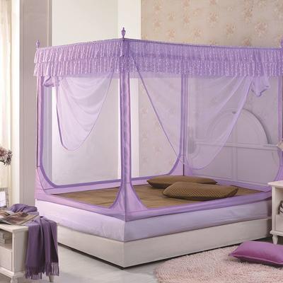 2018新款坐床拉链式蚊帐-纯色小美 1.5m(5英尺)床 紫色