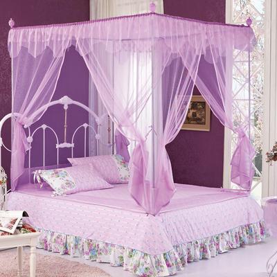 2018新款坐床拉链式蚊帐-花飞满天 1.5m(5英尺)床 紫色