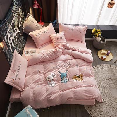 2019新款-牛奶绒贴布套件-童年乐园 1.5m(5英尺)床(床单款) 童年乐园-粉