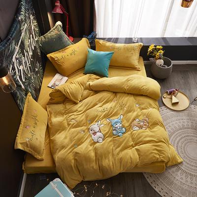 2019新款-牛奶绒贴布套件-童年乐园 1.5m(5英尺)床(床单款) 童年乐园-黄