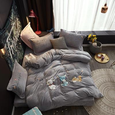 2019新款-牛奶绒贴布套件-童年乐园 1.5m(5英尺)床(床单款) 童年乐园-灰