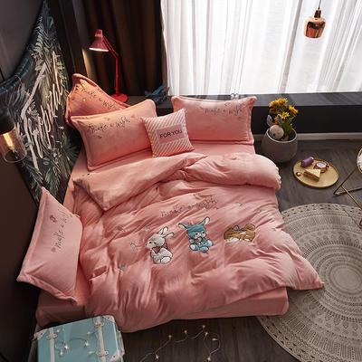 2019新款-牛奶绒贴布套件-童年乐园 1.5m(5英尺)床(床单款) 童年乐园-玉