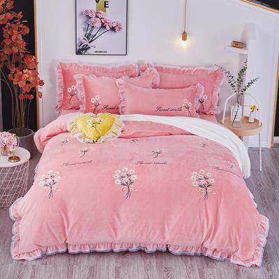 2019新款-水晶绒平绣-簇锦花香 1.8m(6英尺)床(床单款) 簇锦花香-粉