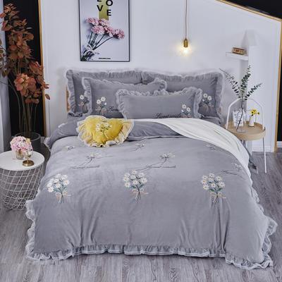 2019新款-水晶绒平绣-簇锦花香 1.5m(5英尺)床(床单款) 簇锦花香-灰