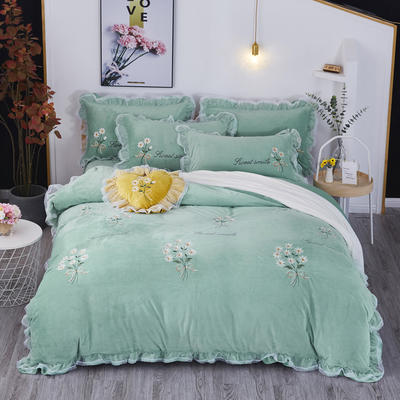 2019新款-水晶绒平绣-簇锦花香 1.8m(6英尺)床(床单款) 簇锦花香-绿