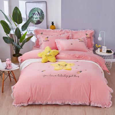2019新款-水晶绒贴布-菠萝之星 1.8m(6英尺)床(床单款) 菠萝之星-粉