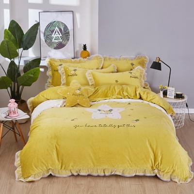 2019新款-水晶绒贴布-菠萝之星 1.5m(5英尺)床(床单款) 菠萝之星-黄