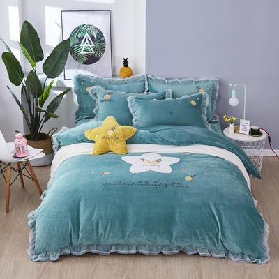 2019新款-水晶绒贴布-菠萝之星 1.5m(5英尺)床(床单款) 菠萝之星-绿