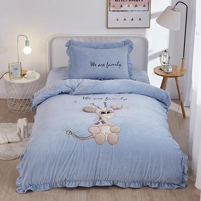 2019新款-水晶绒小号卡通贴布 1.2m(4英尺)床(床单款三件套) 小鹿-蓝