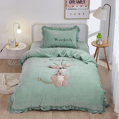 2019新款-水晶绒小号卡通贴布 1.2m(4英尺)床(床单款三件套) 小鹿-绿