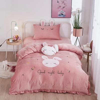 2019新款-水晶绒小号卡通贴布 1.2m(4英尺)床(床单款三件套) 小兔-粉