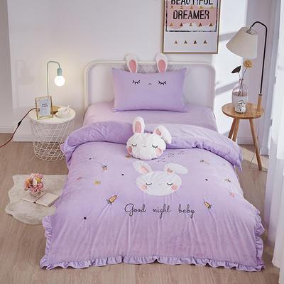 2019新款-水晶绒小号卡通贴布 1.2m(4英尺)床(床单款三件套) 小兔-紫