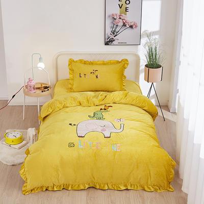 2019新款-水晶绒小号卡通贴布 1.2m(4英尺)床(床单款三件套) 小象-黄