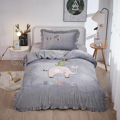 2019新款-水晶绒小号卡通贴布 1.2m(4英尺)床(床单款三件套) 小象-灰