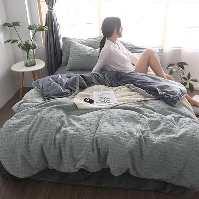 2019新款立体提花舒棉绒四件套 1.2m床(三件套) 摩卡