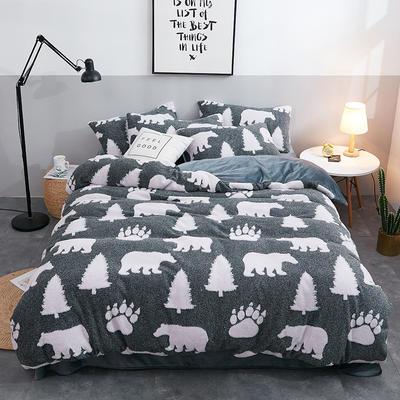 2019新款立体提花舒棉绒四件套 1.2m床(三件套) 小白熊