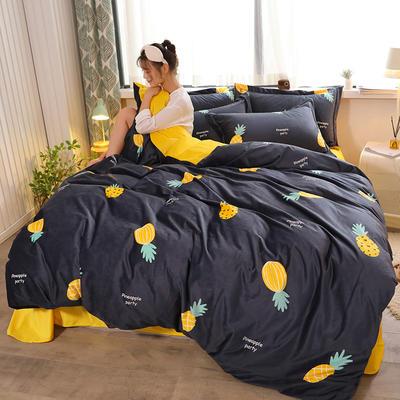 2019新款-高克重精品印花宝宝绒宽边工艺款四件套 1.2m床(三件套) 菠萝密语