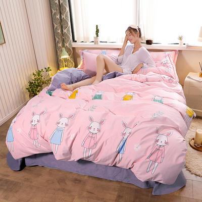 2019新款-高克重精品印花宝宝绒宽边工艺款四件套 1.2m床(三件套) 时装兔