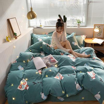 2019新款牛奶棉绒印花四件套 1.2m床单款三件套 甜心可可-绿