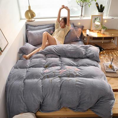 2019新款牛奶棉絨毛巾繡 1.5m床單款四件套 小蜻蜓-灰
