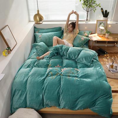 2019新款牛奶棉絨毛巾繡 1.5m床單款四件套 小蜻蜓-綠