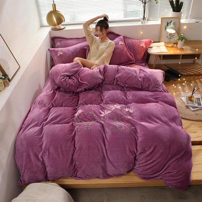 2019新款牛奶棉絨毛巾繡 1.5m床單款四件套 小蜻蜓-玫紅