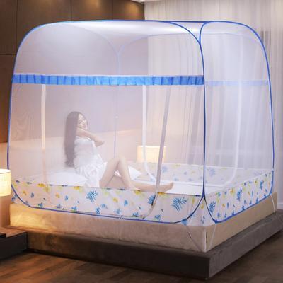 2020新款方顶免安装蒙古包蚊帐 1.5*2.0m 羽叶-蓝