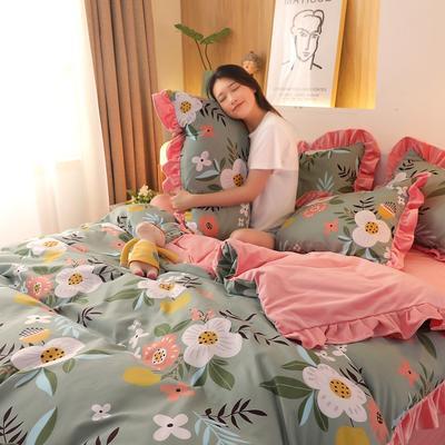 2020新款韩版A版贡棉B版高克重宝宝绒系列四件套 1.5m床单款四件套 花间笑语