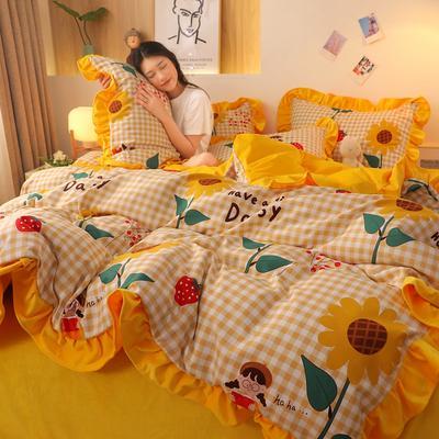 2020新款韩版A版贡棉B版高克重宝宝绒系列四件套 1.5m床单款四件套 向日葵