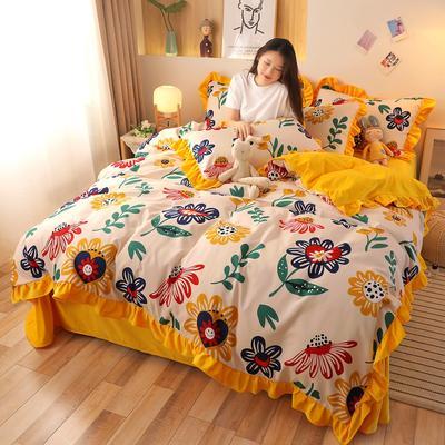 2020新款韩版A版贡棉B版高克重宝宝绒系列四件套 1.5m床单款四件套 向阳花