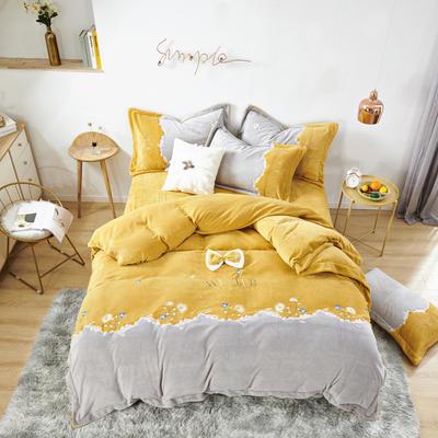 2020新款牛奶绒甜美系列四件套-米朵 1.5m床单款四件套 米朵-靓橙黄