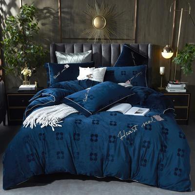 2020新款丽丝绒提花系列四件套-轻奢时代 2.0m床单款四件套 轻奢时代-宝石蓝