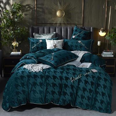 2020新款丽丝绒提花系列四件套-轻奢时代 1.5m床单款四件套 轻奢时代-翡翠绿