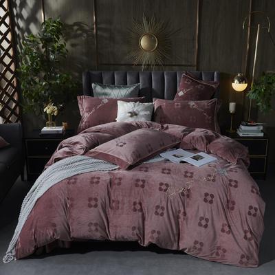 2020新款丽丝绒提花系列四件套-轻奢时代 2.0m床单款四件套 轻奢时代-红豆沙