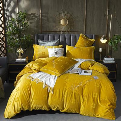 2020新款丽丝绒提花系列四件套-轻奢时代 2.0m床单款四件套 轻奢时代-靓黄