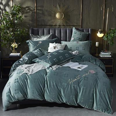 2020新款丽丝绒提花系列四件套-轻奢时代 1.5m床单款四件套 轻奢时代-抹茶绿