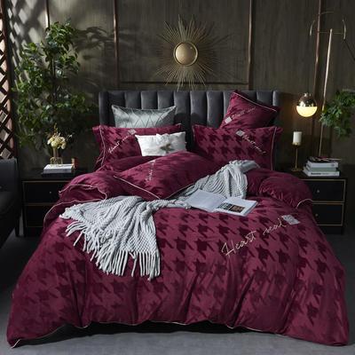 2020新款丽丝绒提花系列四件套-轻奢时代 1.8m床单款四件套 轻奢时代-铁锈红