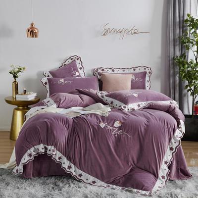 2020新款婴儿绒韩式时尚系列四件套-星语 1.8m床单款四件套 星语-魅惑紫