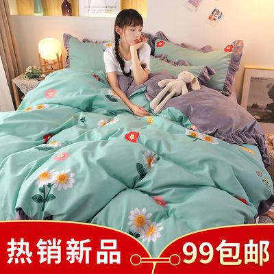 2020新款韩版A版贡棉B版高克重宝宝绒系列四件套 1.5m床单款四件套 城市花园
